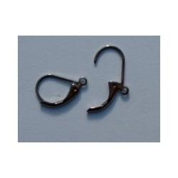 """Oorbellen, hangend model 'dicht"""" blackplated (per set van 2 stuks)"""